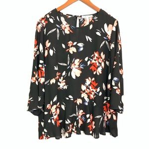Chaus New York Floral Peplum Blouse Size L